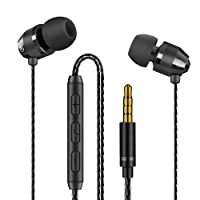 Earphones Modohe Heavy Bass Dynamic Driver Headphones Line-in Microphone and Remote, In-ear Sports Headset with Anti-tangle Triple Cord For Running Gym iOS Android Phones Music Player iPhone