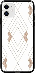 Okteq Case for iPhone 11 Case Shock Absorbing PC TPU Full Body Drop Protection Cover matte printed - light gold white By Okteq