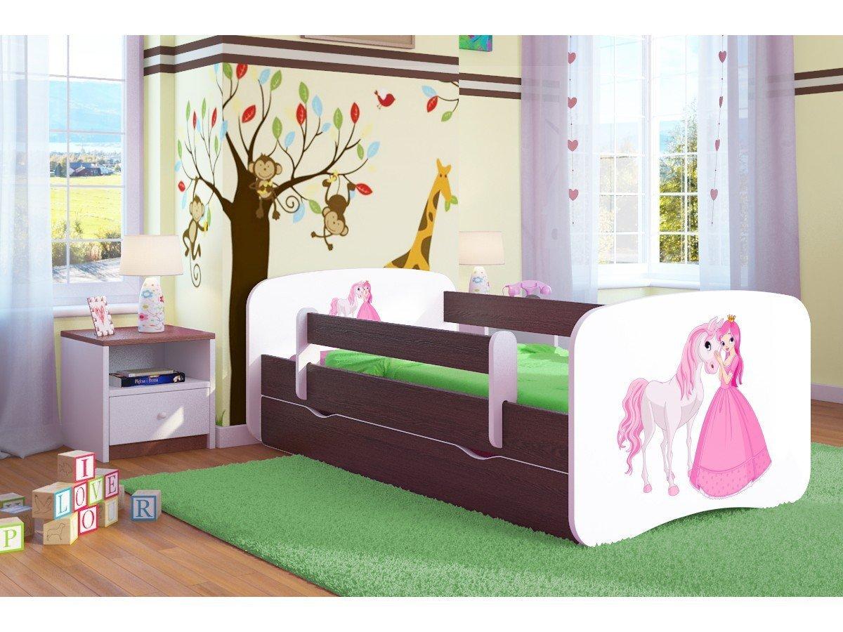 Kocot Kids Kinderbett Jugendbett 70x140 80x160 80x180 Wenge mit Rausfallschutz Matratze Schublade und Lattenrost Kinderbetten für Mädchen und Junge Bagger 140 cm
