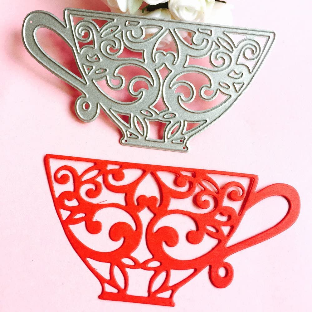 Cutting Dies wuayi Tea Cup Cutting Dies Embossing Stencil for Scrapbooking Album Paper Card DIY Decor Craft