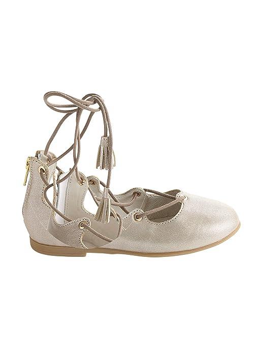 68bae4d4f5f8c Vertbaudet Ballerines à Lacets Fille en Cuir pailleté Taupe métalisé 36   Amazon.fr  Chaussures et Sacs