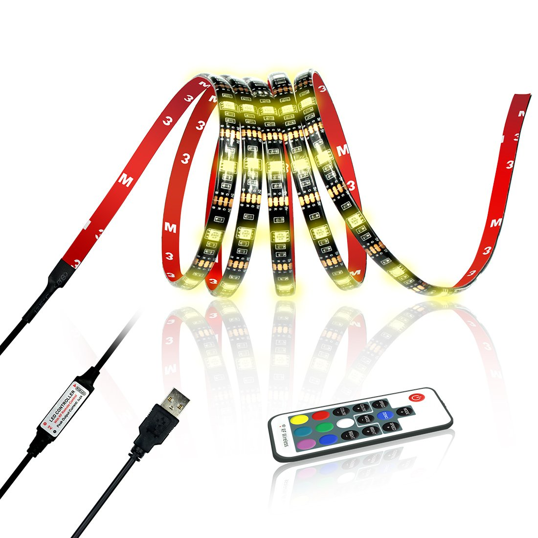 Achivy USB LED Strip Light - 78 inches/2M Color Changing RGB 5050 DC 5V LED TV Backlight Strip with 17Keys RF Remote, Waterproof, Adhesive Bias Lighting for HDTV, Desktop Monitors, Kitchen Cabinets