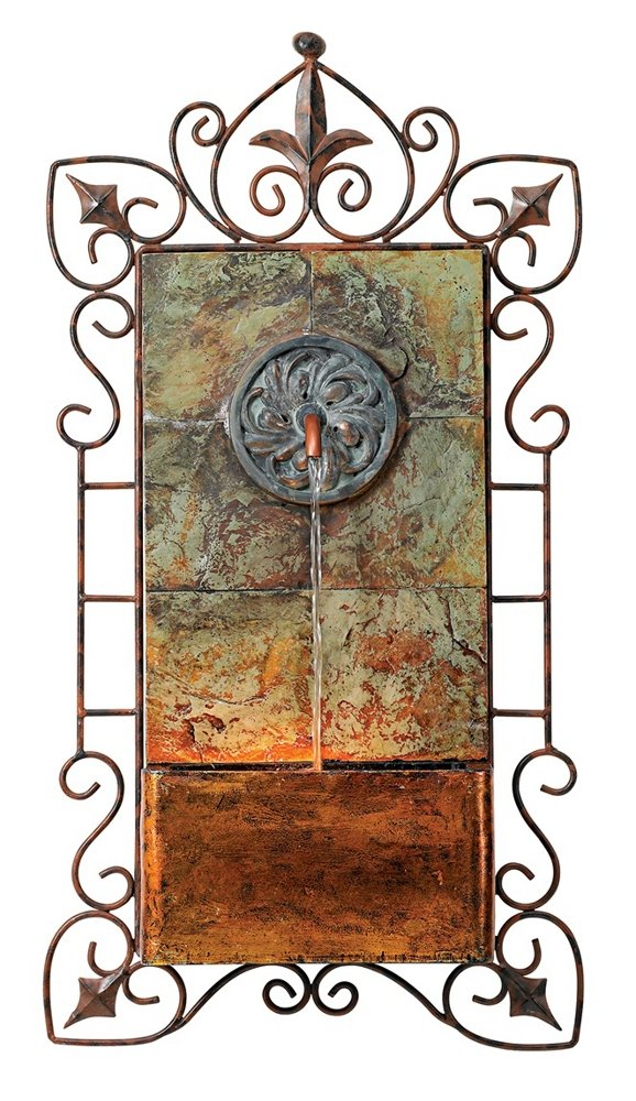 Ibizi Faux Slate and Iron Leaf Medallion 33''H Wall Fountain by John Timberland