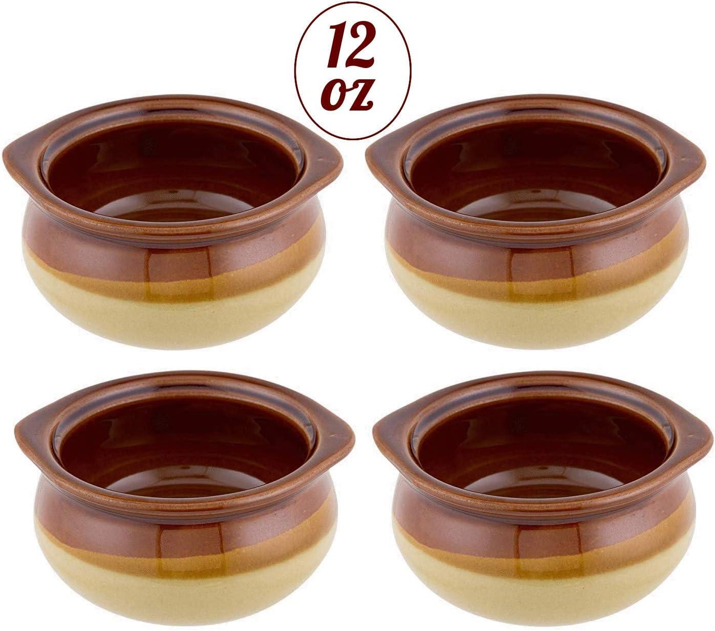 24 PACK 12 Oz Brown Onion Soup Crock Pot Bowl Set Commercial Restaurant