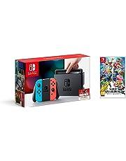 Nintendo Switch - Consola color Azul Neón/Rojo Neón + Super Smash Bros. Ultimate