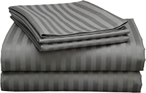 "Twin XL Sheet Set-4 Piece Sheets-College Dorm Room Bed Sheets- Twin XL Sheet Set-College Dorm Size- Deep Bed Sheets Pockets - Twin Extra Long Sheets for Twin XL Mattress - 12""Drop-Dark Grey Stripe)"
