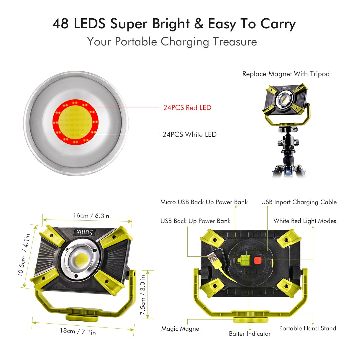 Rechargeable LED Work Light 20W 1600LM SOS Mode 2.1A Fast Charging Magnetic Base Waterproof Spotlights Outdoor Camping Emergency Floodlights For Truck Tractor Workshop Construction Site by XCSOURCE (Image #5)