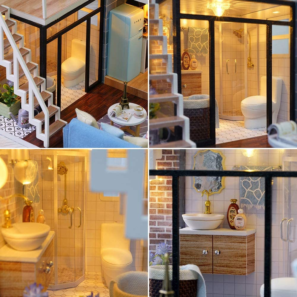 Bayin Dollhouse Kit DIY Furniture Music Movement with Dust Proof Cover Blue Leisure Life Wooden Miniature Doll House Creative Room Gift