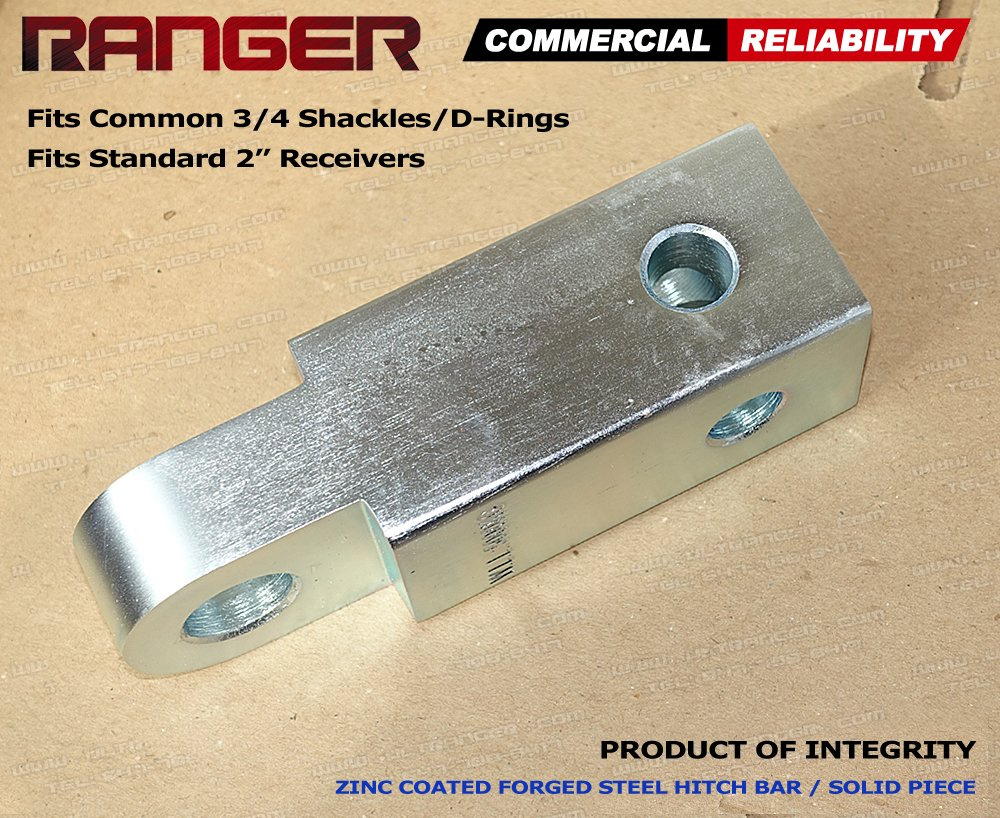 Ranger 2 Hitch Receiver 3//4 Shackle D-Ring Adapter 11,000 lbs 5 tons by Ultranger