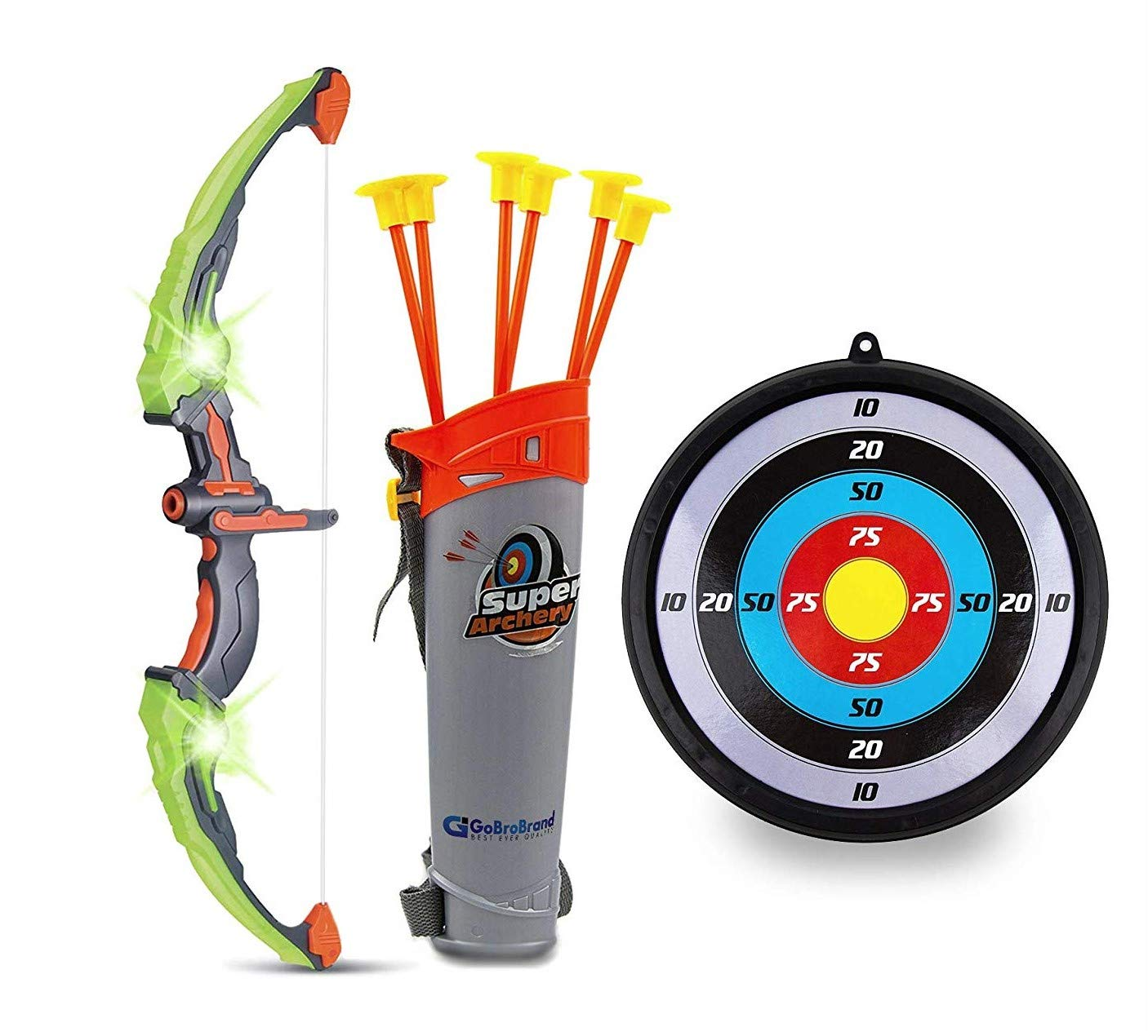 GoBroBrand Bow Arrow Set Kids -Green Light Up Archery Toy Set -Includes 6 Suction Cup Arrows, Target & Quiver Boys & Girls Ages 3 -12 Years Old