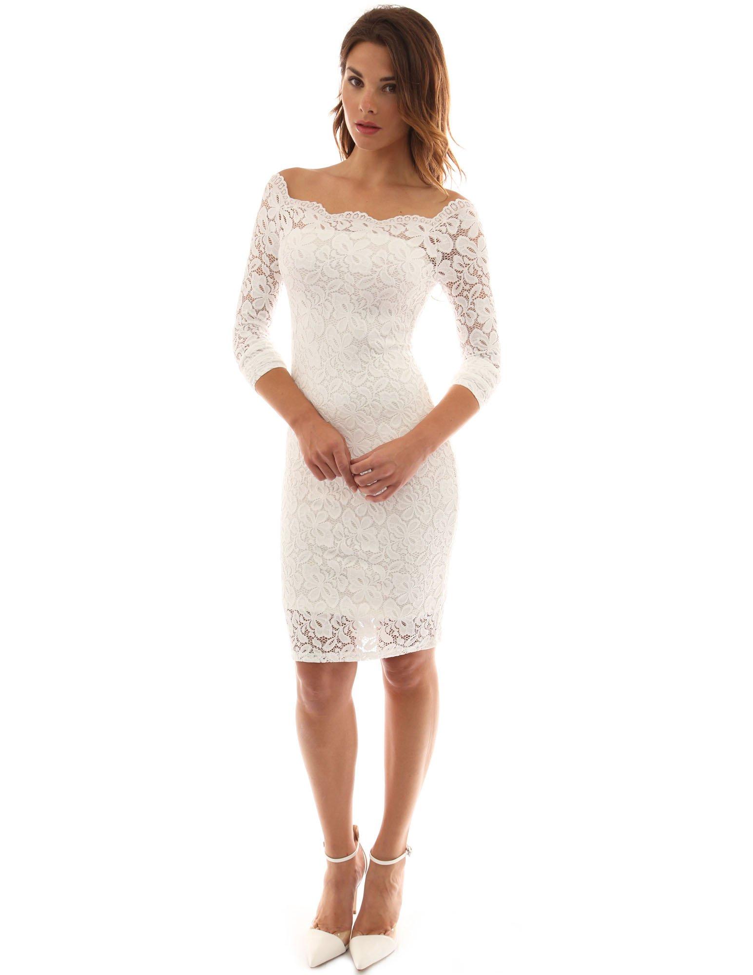 PattyBoutik Women Off Shoulder Floral Lace Twin Set Dress (Off-White Medium) by PattyBoutik