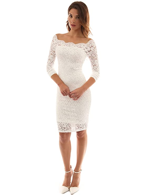 PattyBoutik Women's Off Shoulder Twin Set Floral Lace Dress (Off-White XS)