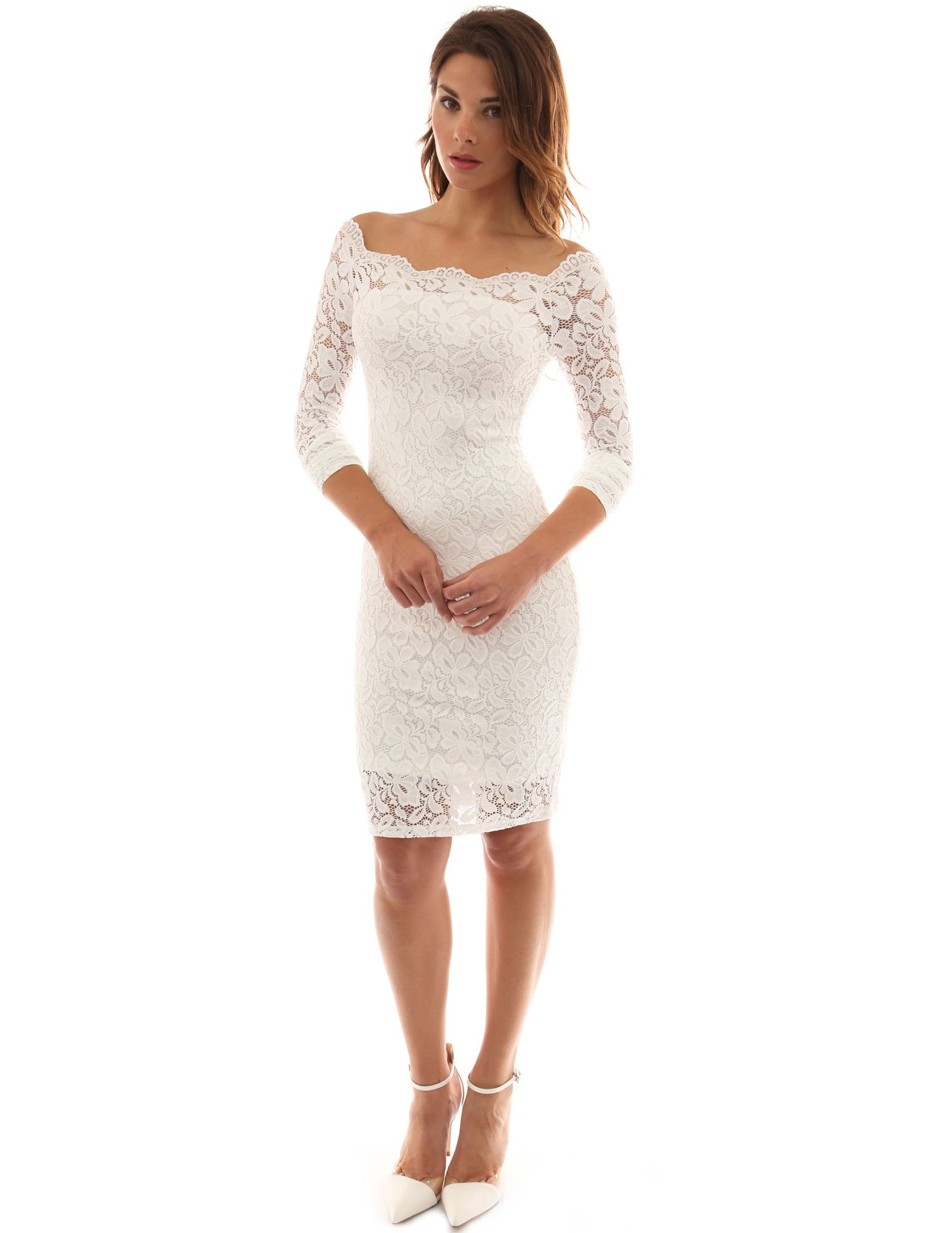 PattyBoutik Women's Off Shoulder Twin Set Floral Lace Dress (Off-White M)