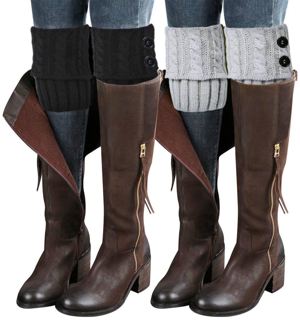 Loritta 2 Pairs Women Winter Crochet Knitted Boot Cuffs Toppers Short Leg Warmer CLT-038-1