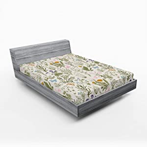 Ambesonne Floral Fitted Sheet, Vintage Garden Plants with Herbs Flowers Botanical Classic Design, Soft Decorative Fabric Bedding All-Round Elastic Pocket, Queen Size, Pink Blue