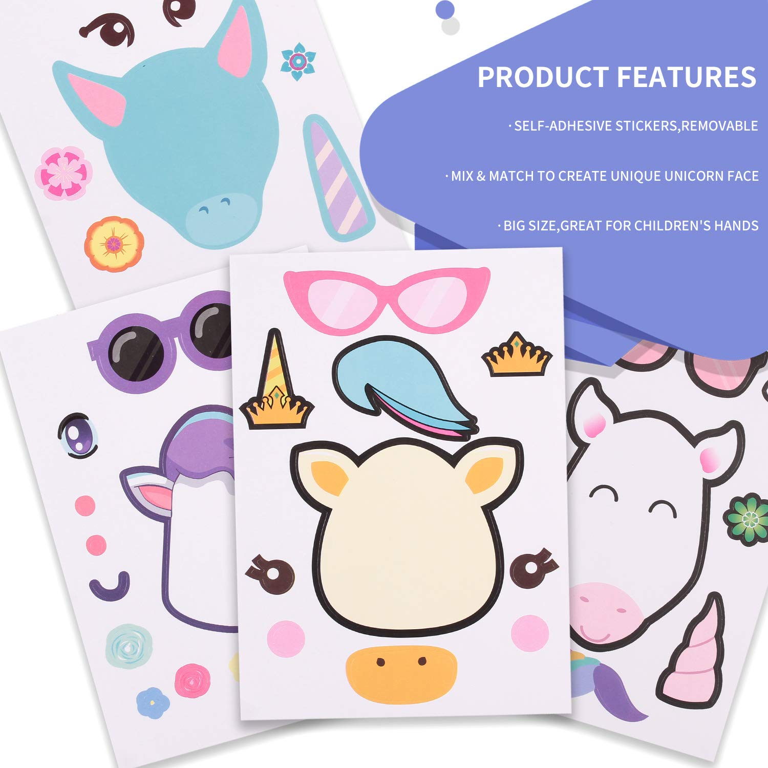 Fun Craft Project Unicorn Party Supplies for Children 3+ FZR Legend 5.9 x 8.3 inches Unicorn Theme Birthday Party Favors 24 Make A Unicorn Stickers for Kids 4 styles