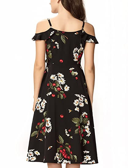 224708472159 Noctflos Women s Summer Floral Cold Shoulder Midi Dress for Casual Cocktail  Wedding Guest at Amazon Women s Clothing store