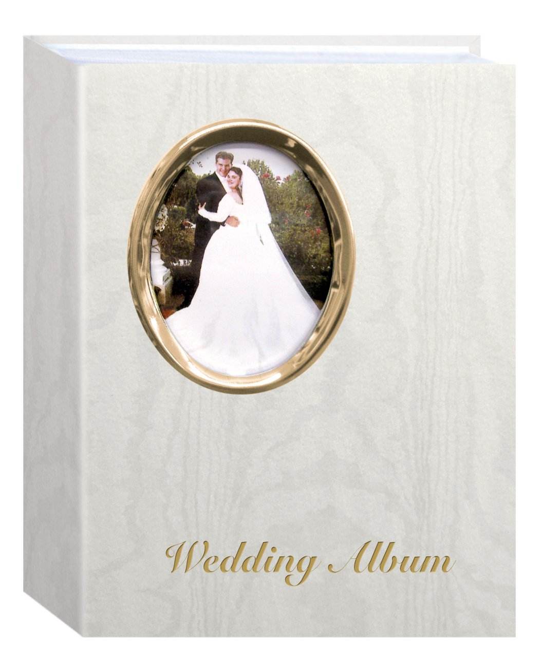 Pioneer Photo Albums WAF-46/GT 200 Pocket Ivory Moire Cover Album with Gold Tone Oval Frame and Wedding Album Text for 4 x 6-Inch Prints