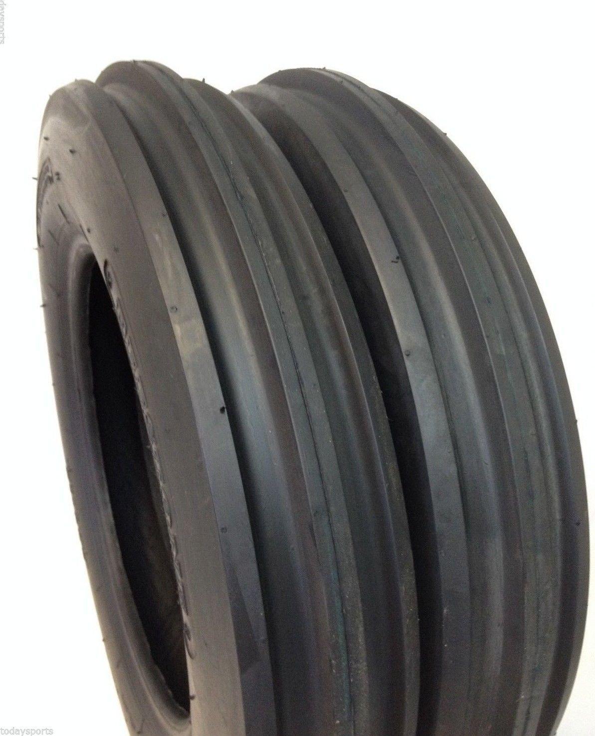 Two 5.00-15 Rib Tractor Tires with Tubes 500-15 Three Rib