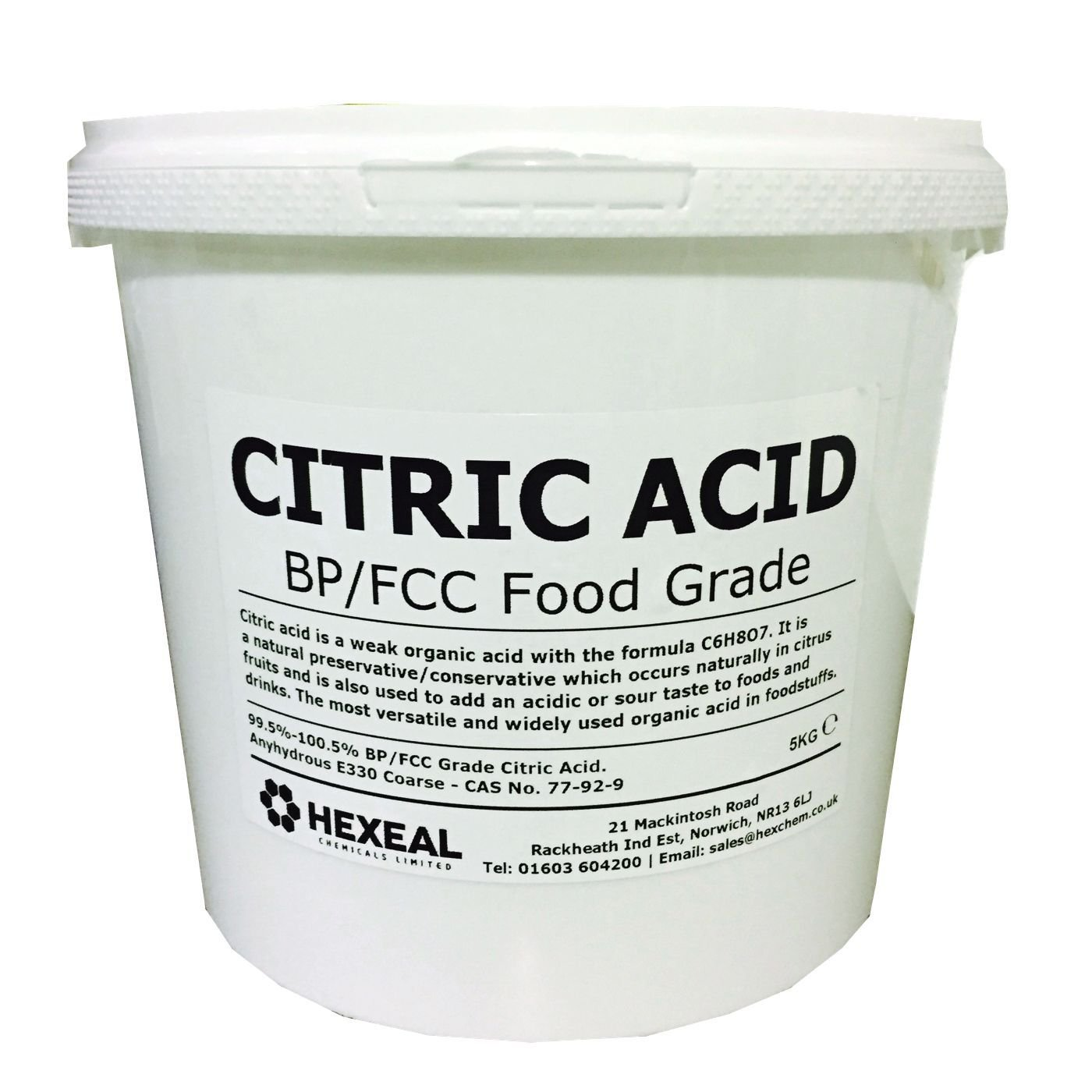 CITRIC ACID | 5KG BUCKET | 100% Anhydrous | Fine | GMO Free | BP/FCC Food Grade