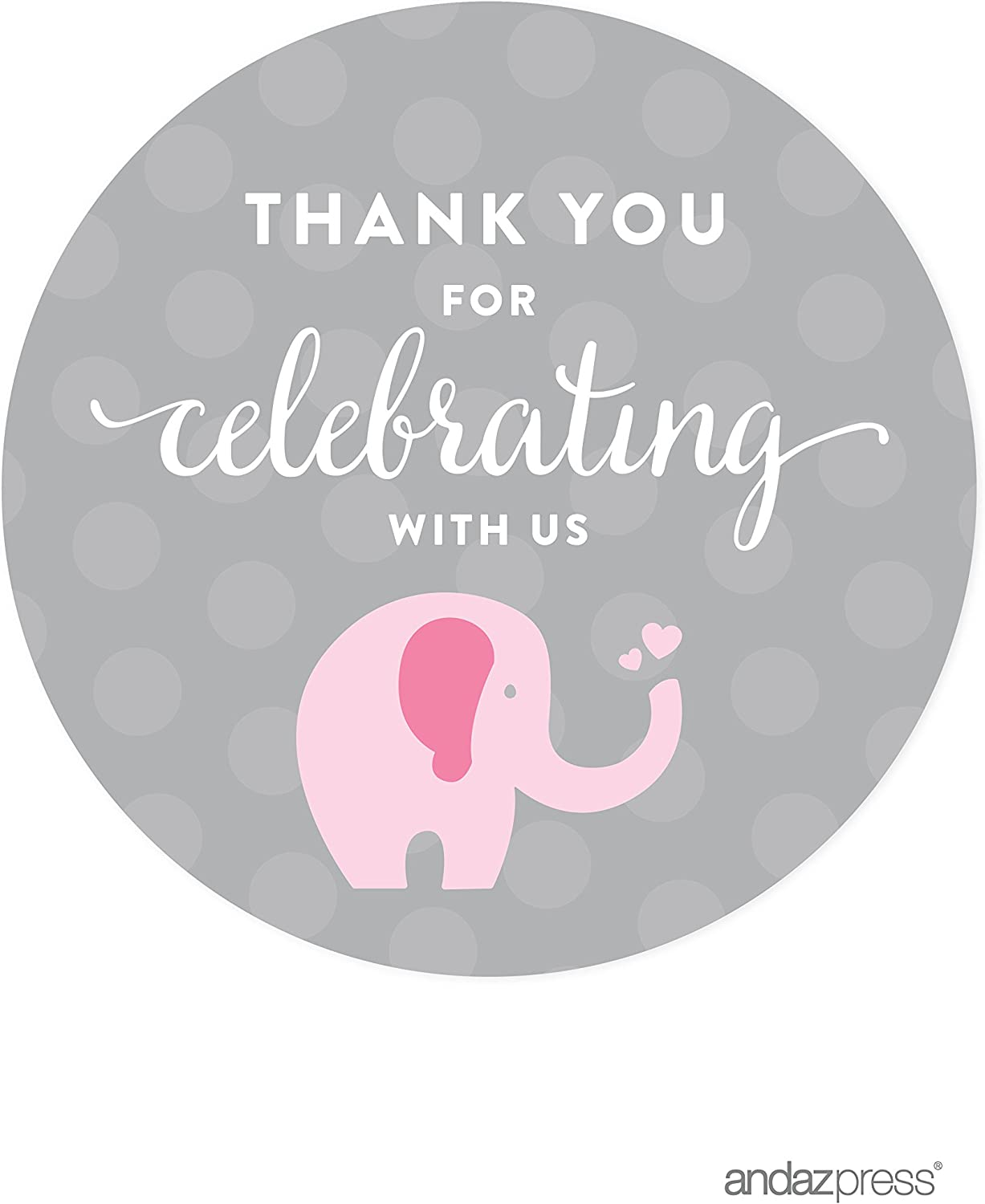 Andaz Press Pink Girl Elephant Baby Shower Collection, Round Circle Label Stickers, Thank You for Celebrating with US!, 40-Pack