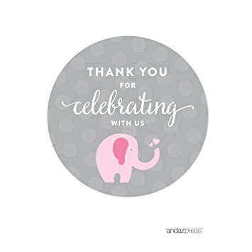 andaz press pink girl elephant baby shower collection round circle label stickers thank you