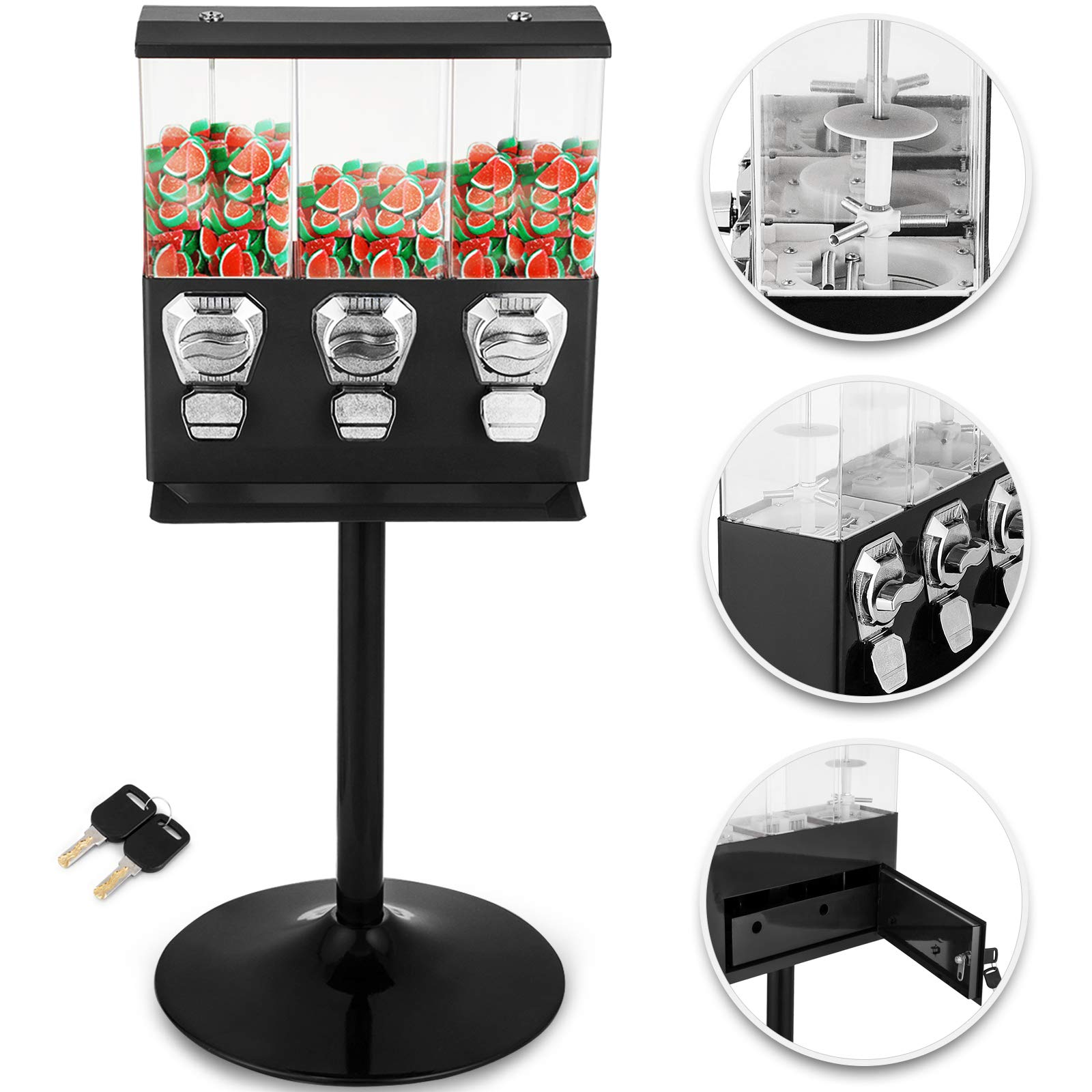 Mophorn Triple Pod Candy Gumball Vending Machine Black Triple Head Candy Vending Dispenser with Stand Heavy Duty Gumball Bank Durable Metal Body Removable Canisters