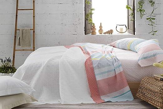 Burrito Blanco Juego de Sábanas 104 con un Diseño de Rayas con Diferentes Geometrías y Tonalidades para Cama Individual de 90x190 hasta 90x200 cm/ Juego de Cama 90 ...