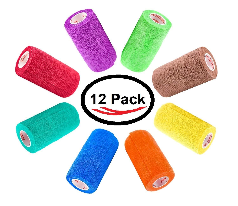 4 inch Vet Wrap Tape Bulk, FDA Approved, Dog Cat Pet Horse Self Adhesive Flex Bandage Rap Grip Roll, Assorted Colors 6, 12, 18, or 24 Packs (12 Rolls, Assorted)