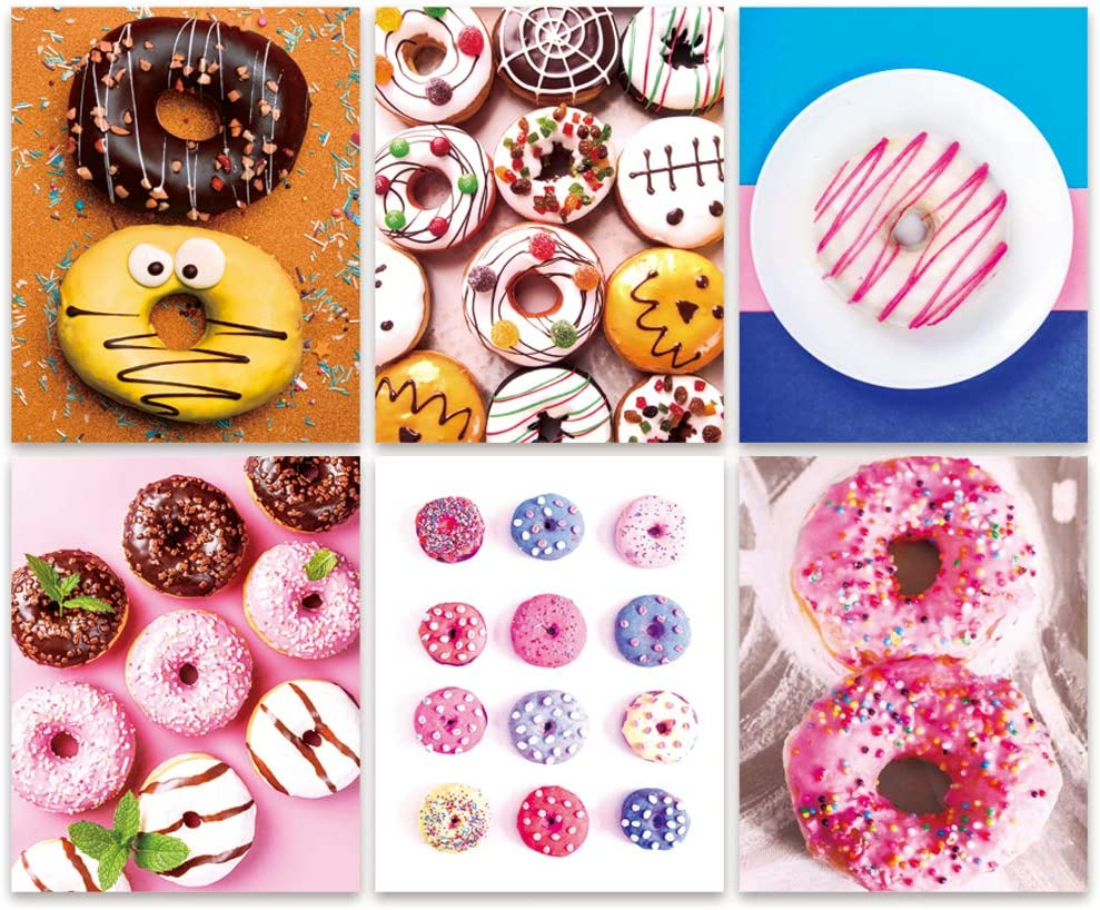 Bestdeal Depot Sweets Delicious Frosting Donuts Kids Snacks Food Dessert Photography Modern Art Farmhouse/Country CloseUp Colorful Multicolor Bold Color Dinning Room Unframed Poster Set of 6, 8 x 10 inches