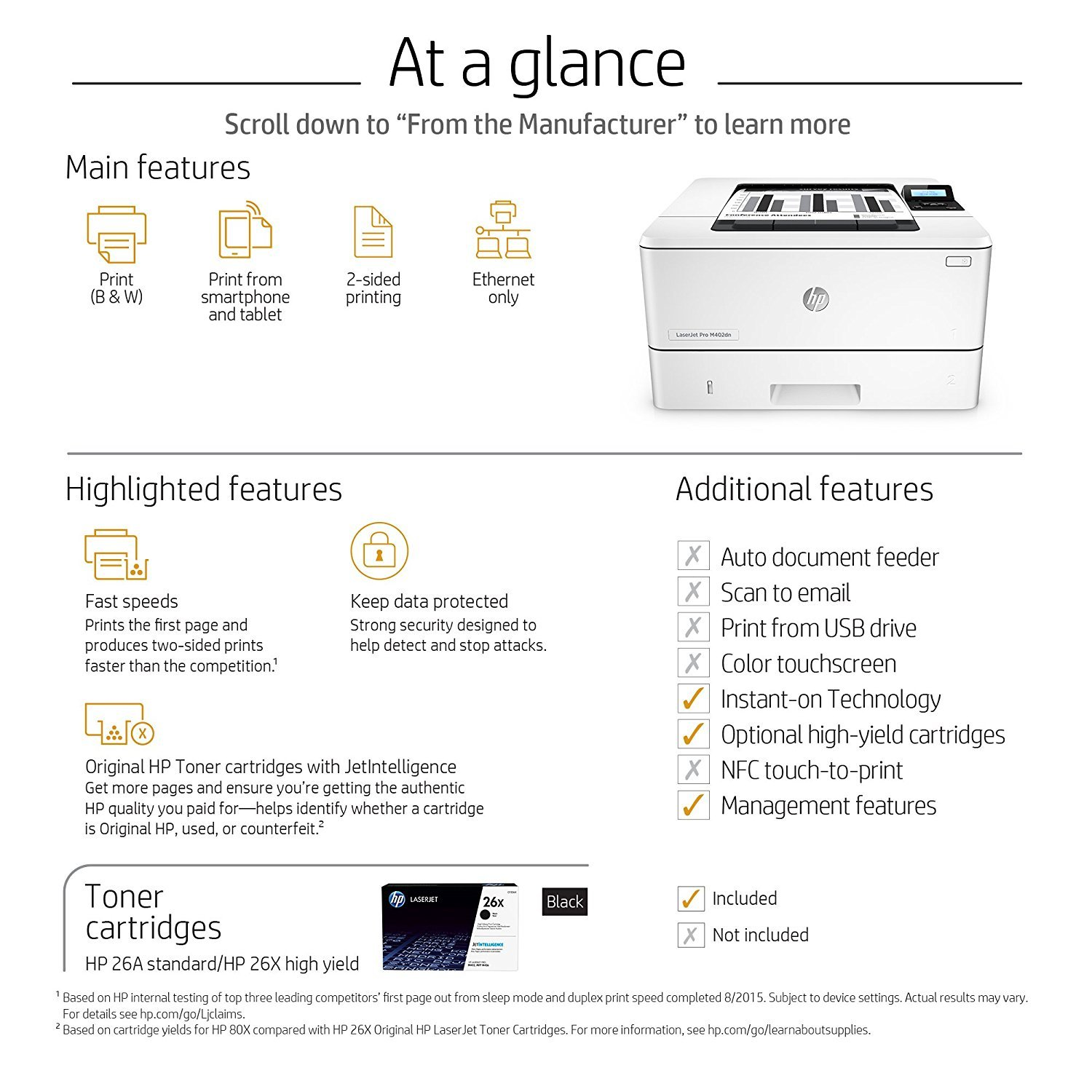 HP LaserJet Pro M402dn Laser Printer with Built-in Ethernet & Double-Sided Printing, Amazon Dash Replenishment ready (C5F94A) by HP (Image #7)