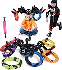Inflatable Spider Ring Toss Game for Kids Adults Perfect for Halloween Party Favors Toys Halloween Games Indoor Outdoor Activity