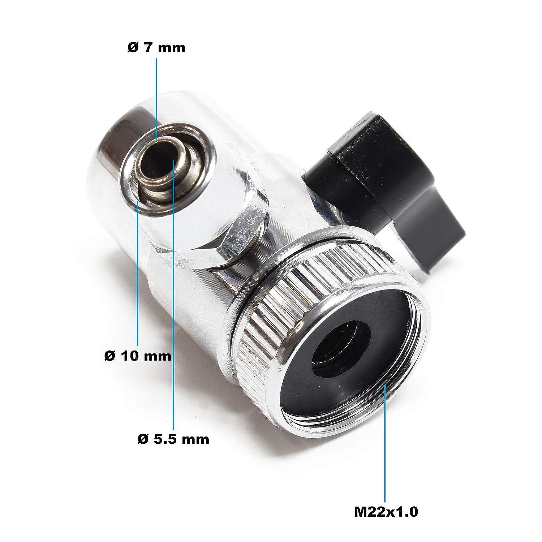 Rubinetto a due vie Adattatore per rubinetti Filtro dellacqua 7 mm