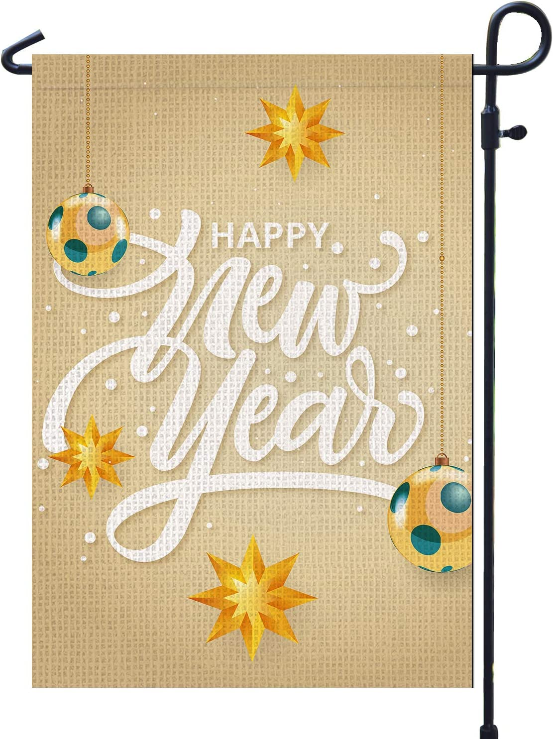 PAMBO Happy New Year Garden Flags 2021 for Outside Burlap 12x18 Double Sided Garden Flag for Yard Outdoor Decoration