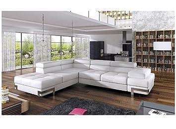 Enjoyable Bmf Emporio White Modern Corner Sofa Chrome Legs Bed Download Free Architecture Designs Jebrpmadebymaigaardcom