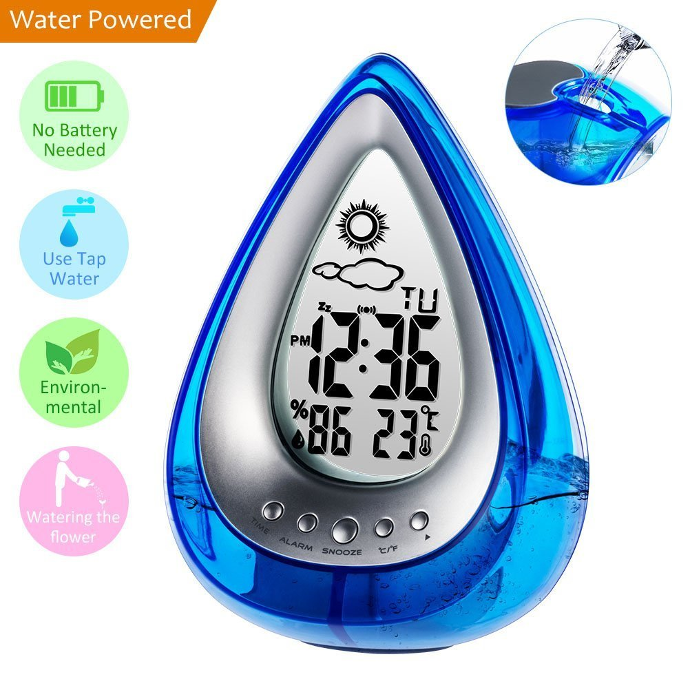 Coolle Water Powered Clock Eco-Friendly with Alarm, Temperature, Humidity and Weather Forecast Display