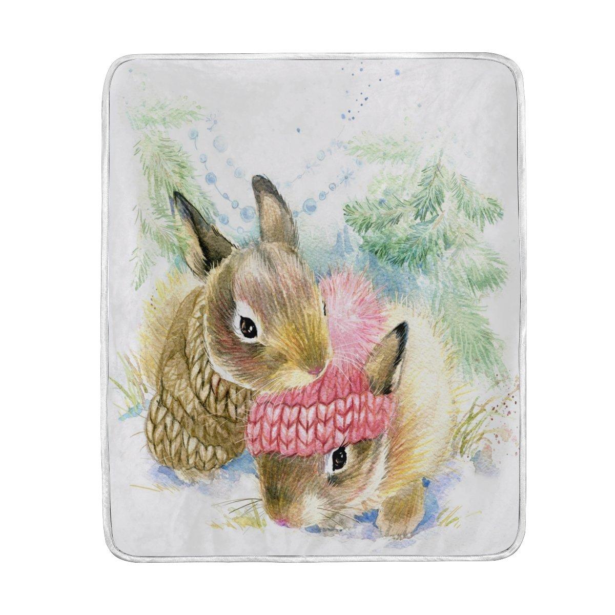 50インチ女性のためのスローサイズキッズ男の子 Alazaホームインテリア冬フォレストクリスマスBunny x Rabbit毛布ソフト暖かい毛布ベッドソファソファ軽量旅行キャンプ60 B076JG4BNH