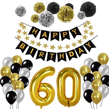 BRT Black And Gold Party Decorations 90Pcs Happy Birthday Banner Star Heart Foil Balloons 18th 20th 30th 40th 50th 60th 70th