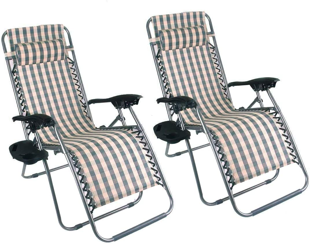 Outsunny Zero Gravity Recliner Lounge Chair Stripe - Pack of 2