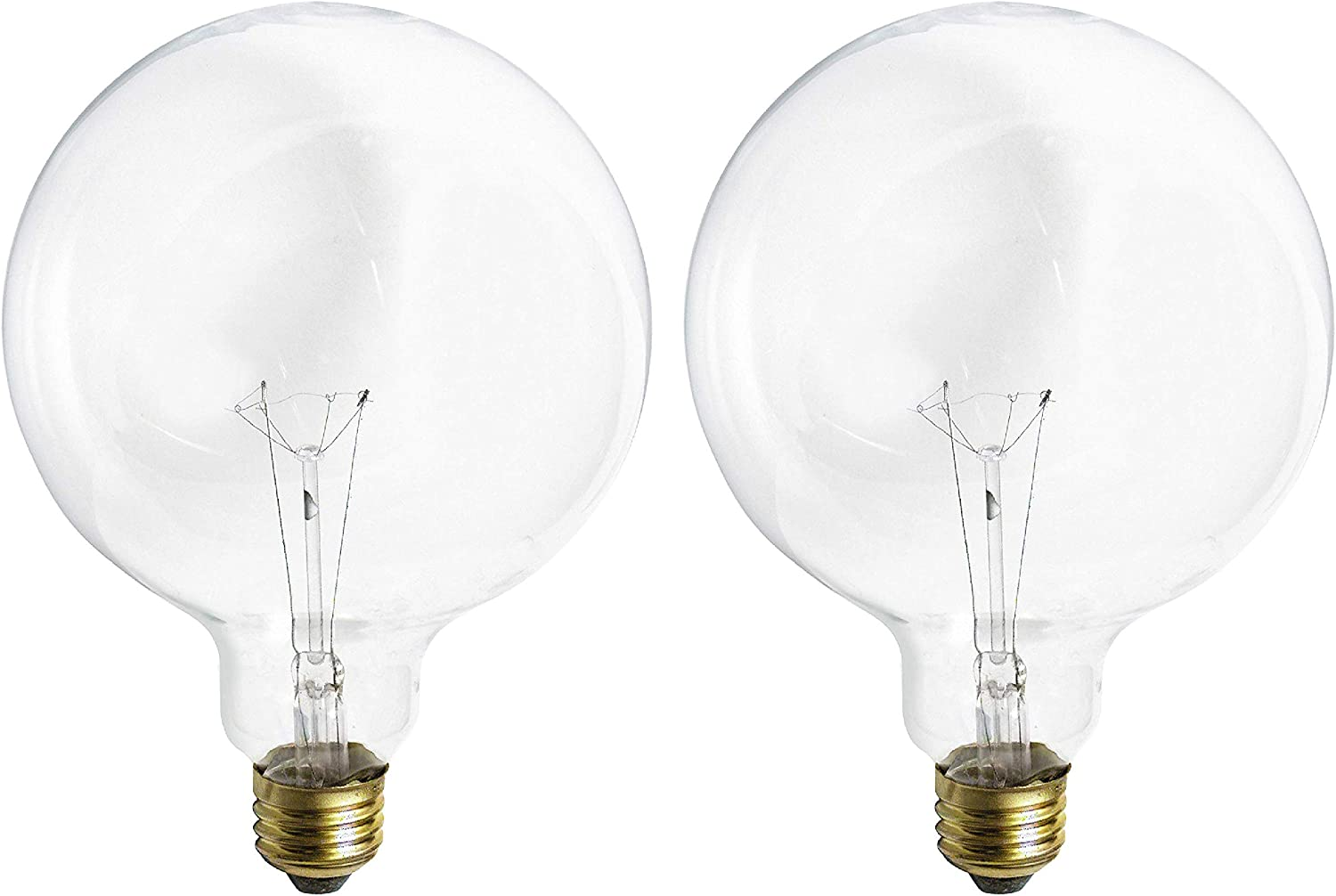 (2 Pack) G40 Incandescent Light Bulb 2700K Soft Light, Decorative Globe Light Bulbs,E26 Medium Base, Perfect use for Decor, Pendant, Bathroom/Vanity Mirror Makeup, Dimmable. (Crystal-Clear, 100-Watt)