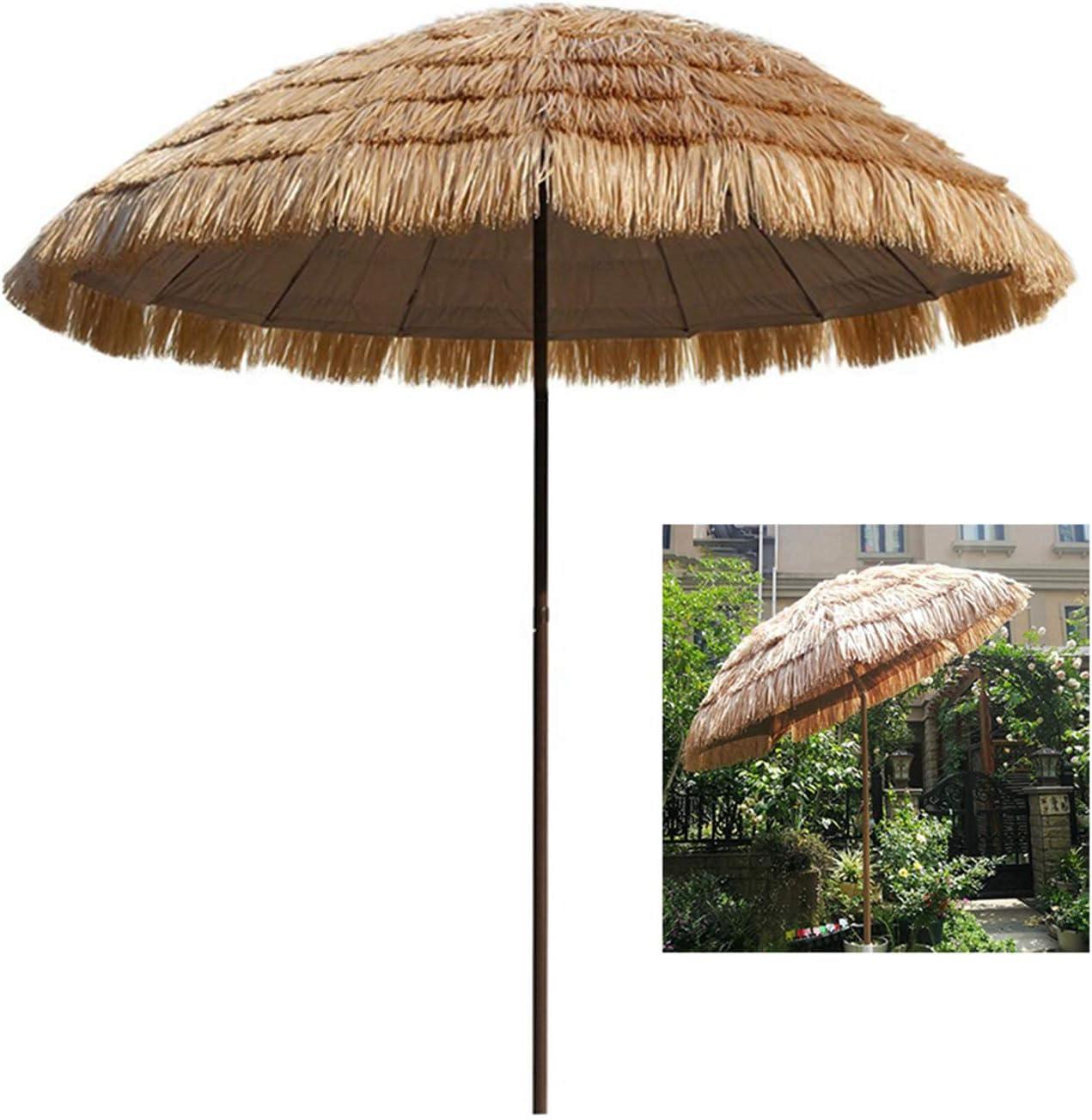 Sonnenschirm Hawaii /Ø 200cm,Strandschirm Gartenschirm Balkonschirm strohschirm Sonnenschutz neigbar Outdoor Reise Camping Deck