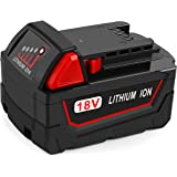 48-11-1850 M18 Redlithium 5.0Ah Battery Pack, Powilling 18V 5.0Ah Replacement Battery for Milwaukee M18 XC Red Lithium M18B 48-11-1820 48-11-1850 48-11-1828 48-11-1815 Cordless Power Tools