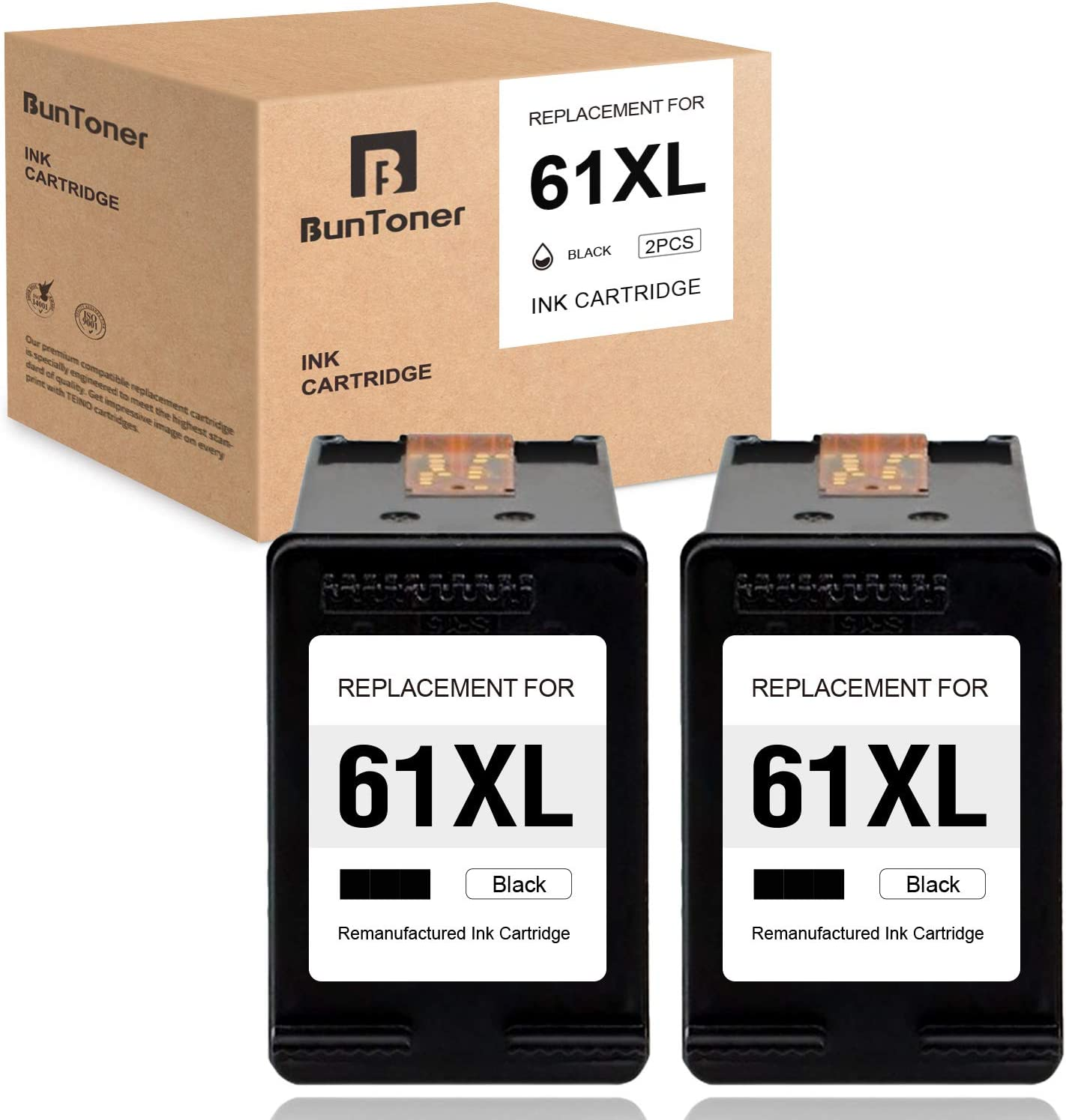 BUNTONER Remanufactured Ink Cartridges Replacement for HP 61 61XL use with HP Envy 5530 4500 4502 4501 5535 OfficeJet 4630 4635 4632 2620 DeskJet 2540 3050 3510 1000 2050 1510 1512 (Black, 2-Pack)