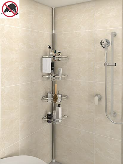 Charmant Lifewit Corner Shower Caddy 4 Tier Adjustable Bathroom Constant Tension  Corner Pole Caddy Free Standing Shower