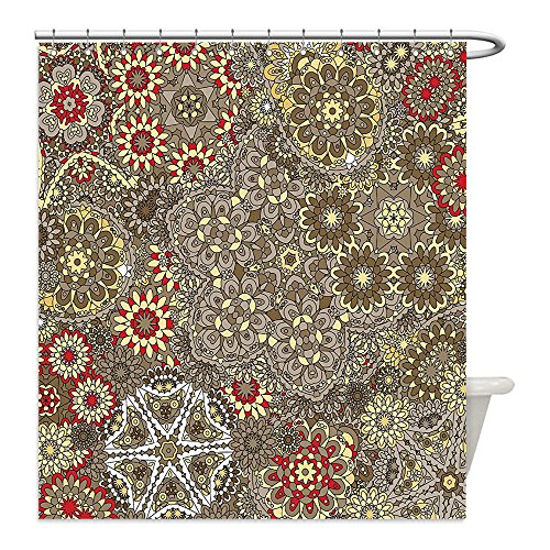 Liguo88 Custom Waterproof Bathroom Shower Curtain Polyester Batik Decor Vintage Paisley Forms with Batik Style Flowers and Circles Moroccan Persian Patterns Multi Decorative bathroom