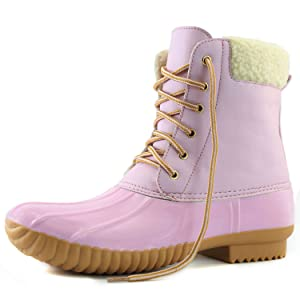 Women's DailyShoes Warm Snow Booties Lace Up Ankle High Cashmere Collar Duck Padded Mud Rubber Rain boots Pink 9 B(M) US