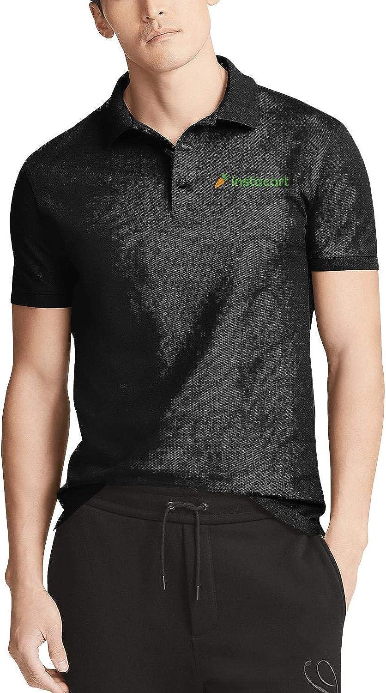 Mens Black Short Sleeve Collar Polo T-Shirt Instacart-Shopper-App-Gay-Pride-Rainbow- Casual Buttons Tee Tops