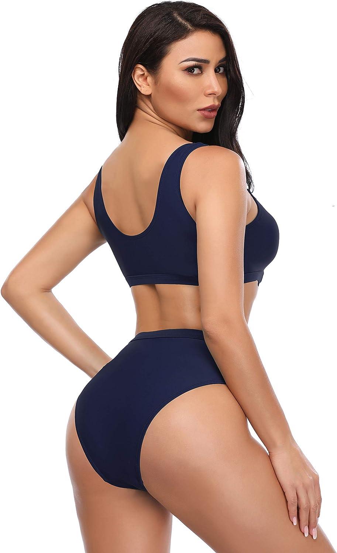 SHEKINI Women/'s Bikini Two Pieces Swimsuits Low Scoop Crop Top High Waisted Sports Bra Top Racerback