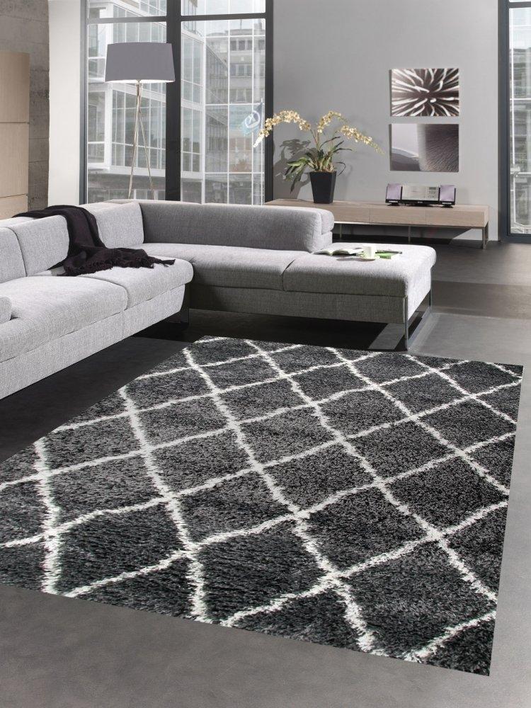 Carpetia Shaggy Teppich Wohnzimmerteppich Hochflor Langflor Rauten grau Creme Größe 200 x 290 cm