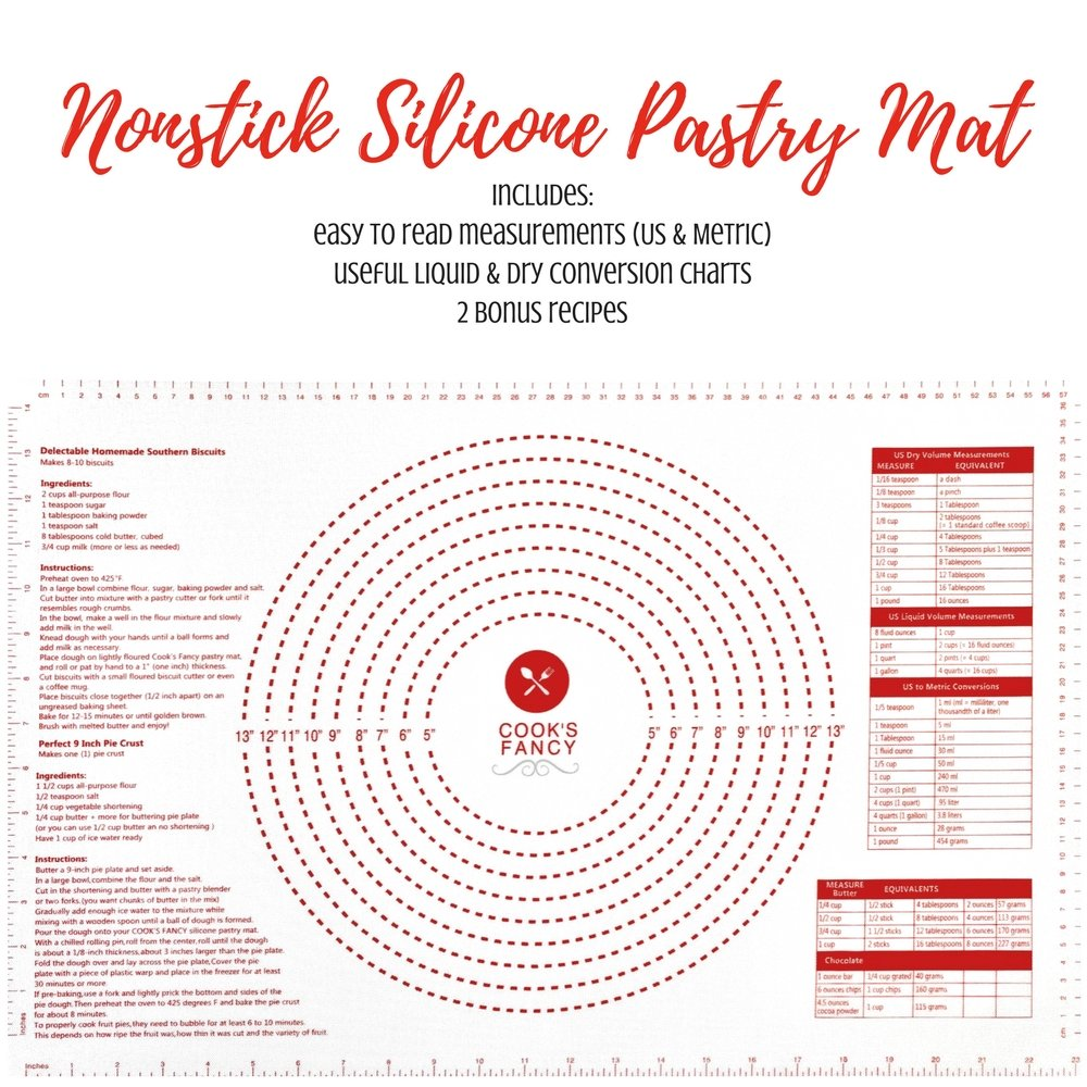 Cook's Fancy Silicone Pastry Mat with Measurements, 24'' x 16'' Nonstick Mat for Rolling Dough, Reusable Mat Grips Any Surface